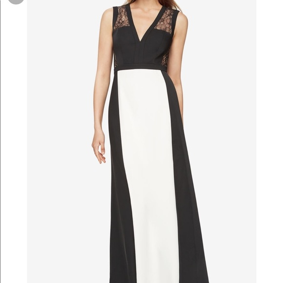69c4ee1fa758 BCBGMaxAzria Dresses | Bcbg Oudette Black White Lace Evening Gown ...
